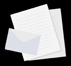 手紙とラブレターのイラスト素材ホワイト