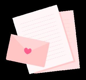 手紙とラブレターのイラスト素材ピンク